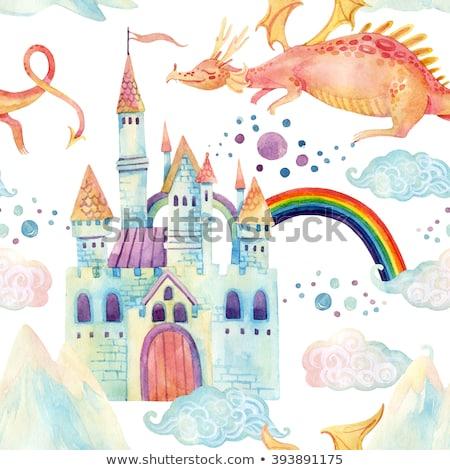 бесшовный детей сказка замок дракон радуга Сток-фото © bluering