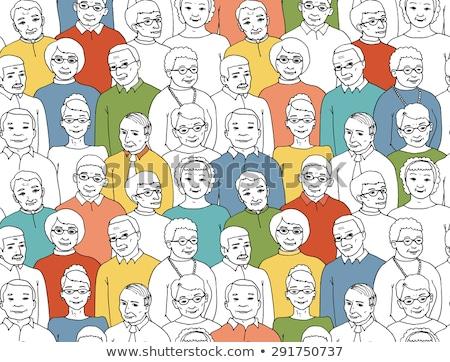 Idősebb emberek nyugdíjas végtelen minta vektor vékony Stock fotó © pikepicture