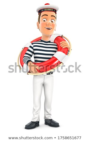 3d seaman standing with life buoy Stock photo © 3dmask