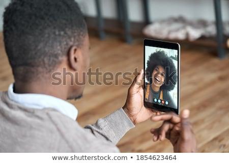 Homem remoto conversa moço mulher Foto stock © choreograph