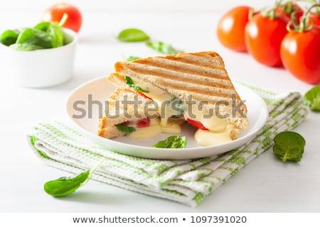 サンドイッチ トマト チーズ 白 プレート ストックフォト © gladcov