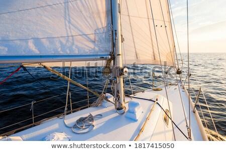 Zeilboot boeg moderne details haven hemel Stockfoto © trexec
