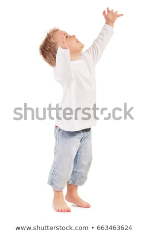мало мальчика босиком изолированный белый улыбаясь Сток-фото © pekour