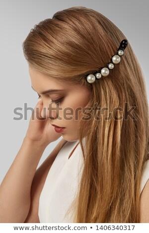 blond · parel · kralen · portret · jonge · mooie - stockfoto © zastavkin