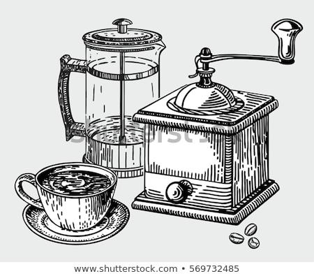 Café molino frijoles aislado blanco Foto stock © smithore
