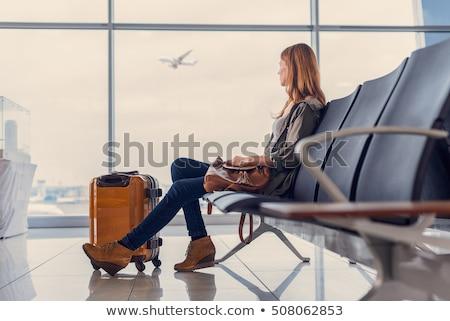 Mujer aeropuerto silueta avión caminando negro Foto stock © lkeskinen