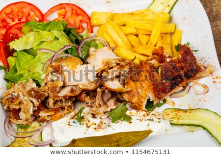isolated kebab and french fries Stock photo © M-studio