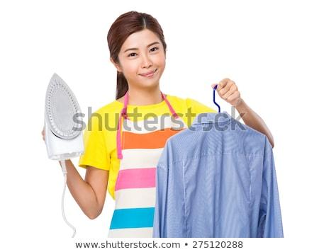 женщину · рубашку · синий · футболки · улыбаясь - Сток-фото © photography33