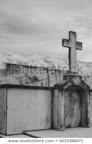 zarándok · kő · kereszt · LA · felhők · hegy - stock fotó © njaj