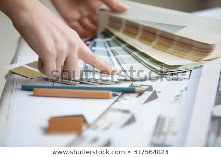 Female decorator choosing color from swatch Stock photo © photography33