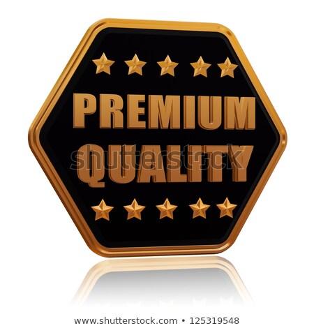 prémium · minőség · öt · csillag · hatszög · gomb - stock fotó © marinini