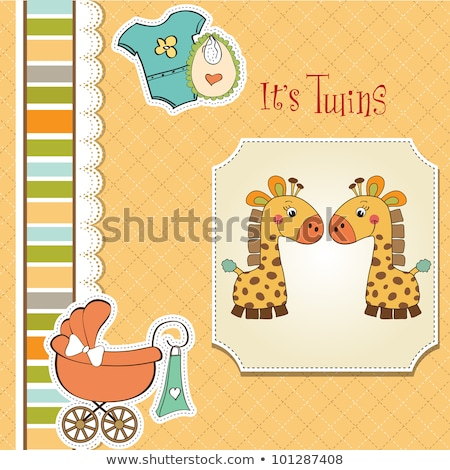 delicate baby twins shower card Stock photo © balasoiu