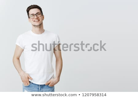 若い男 · 眼鏡 · 手 · 白 · 笑顔 - ストックフォト © laindiapiaroa