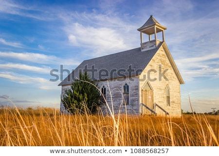 abandonado · rural · iglesia · Oregón · hierba · madera - foto stock © pictureguy
