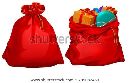 рождество · украшение · подарок · сумку · красный · ткань - Сток-фото © andreypopov