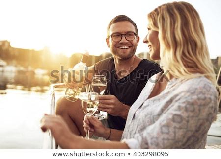 ワイン マリーナ 白ワイン ガラス 海 ドリンク ストックフォト © Hofmeester