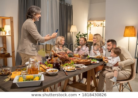 big meat from family table Stock photo © jonnysek