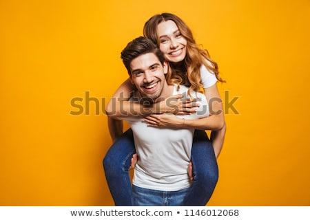 ガールフレンド · 笑みを浮かべて · ライディング · ピギーバック · 幸せ - ストックフォト © DNF-Style