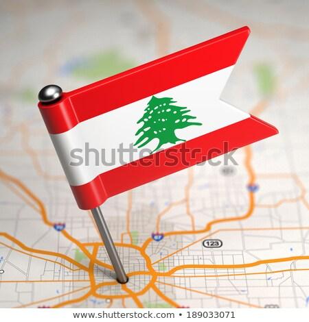 Lübnan küçük bayrak harita seçici odak arka plan Stok fotoğraf © tashatuvango