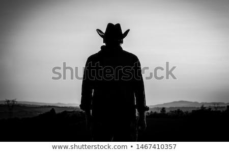 homens · vaqueiro · isolado · homem · chapéu · de · cowboy - foto stock © dgilder