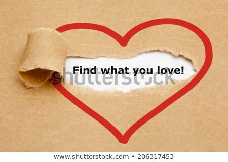 Vinden wat liefde gescheurd papier achter gescheurd Stockfoto © ivelin