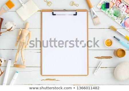 kukla · sanatçı · turuncu · kukla · beyaz · üzücü - stok fotoğraf © nalinratphi