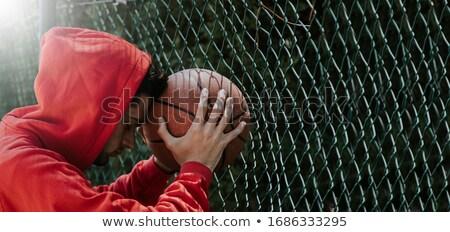 Kosárlabda kerítés fű réteges illusztráció könnyű Stock fotó © DzoniBeCool