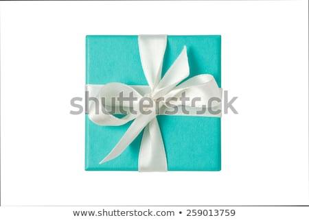 Mavi küçük şerit yay yalıtılmış beyaz Stok fotoğraf © art9858