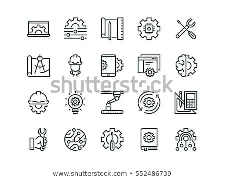 Stockfoto: Productie · procede · blauwdruk · versnellingen · industriële · ontwerp