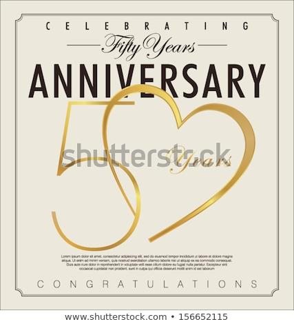ötvenedik házassági évforduló meghívó 3D illusztrált elegáns Stock fotó © Irisangel