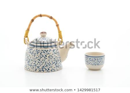 zöld · teáskanna · teáscsészék · kő · asztal · felső - stock fotó © keko64