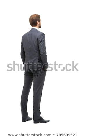 背面図 小さな ビジネスマン スーツ ポインティング 白 ストックフォト © wavebreak_media