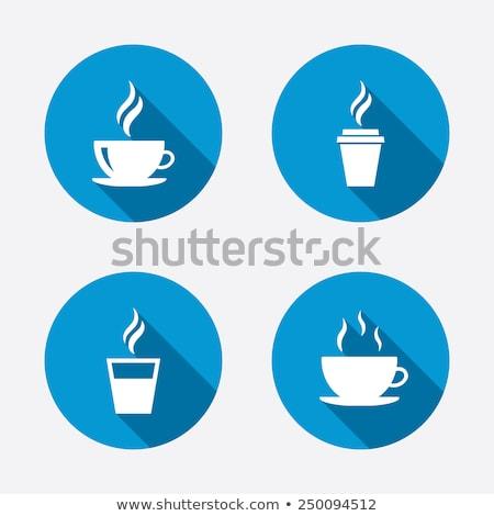 warme · drank · koffiekopje · cirkel · icon · lang · schaduw - stockfoto © anna_leni