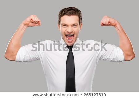 man · tonen · vuist · geïsoleerd · witte · succes - stockfoto © deandrobot