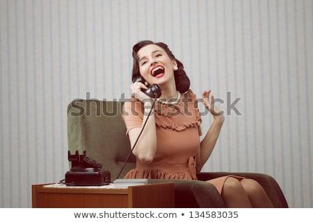 üzletasszony · retro · titkárnő · iroda · klasszikus · szemüveg - stock fotó © lunamarina