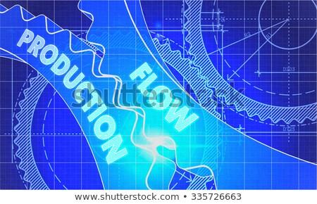 Flow Production on the Cogwheels. Blueprint Style. Stock photo © tashatuvango