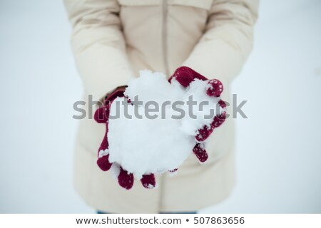 young beauty girl outdoor in winter throws snow Stock photo © Paha_L