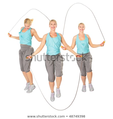 Three women with a skipping rope, collage Stock photo © Paha_L