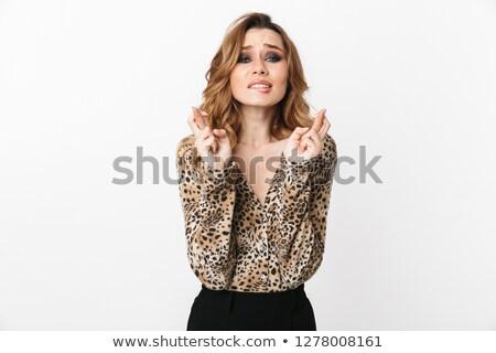 bela · mulher · leopardo · vestir · isolado · branco · mulher - foto stock © elnur