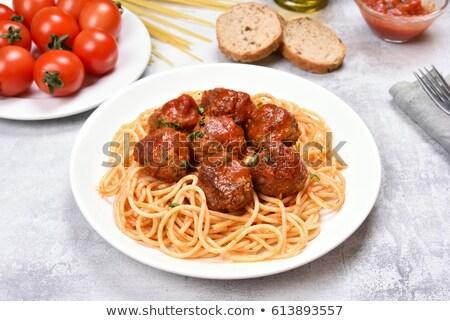 Foto d'archivio: Carne · salsa · di · pomodoro · spaghetti · stile · rustico
