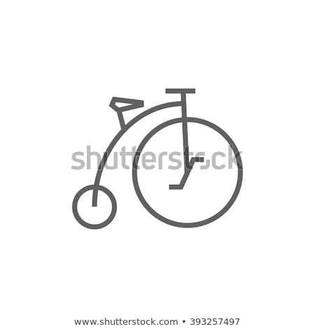 old bicycle with big wheel line icon stock photo © rastudio