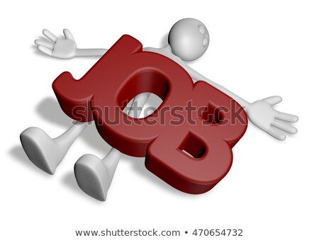 cartoon guy under the word job   3d rendering stock photo © drizzd