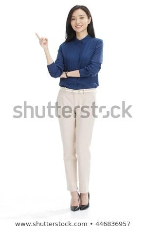 smiling businesswoman - front view full length stock photo © dgilder