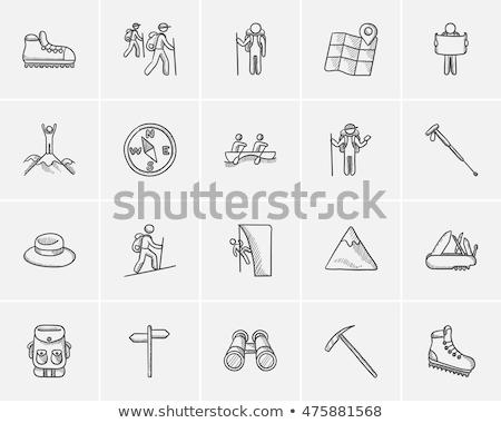 Ice pickaxe sketch icon. Stock photo © RAStudio