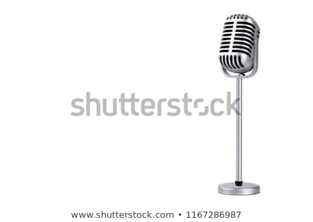 vintage silver microphone isolated on white background stock photo © tussik