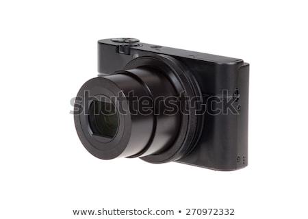 Zwarty kamery Fotografia Błękitne niebo niebo tle Zdjęcia stock © kitch