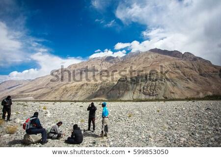 Foto stock: Indiano · pôr · do · sol · ilustração · homem · natureza · silhueta