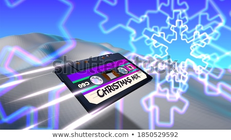 Christmas card with 80s neon snowflake Stock photo © SwillSkill