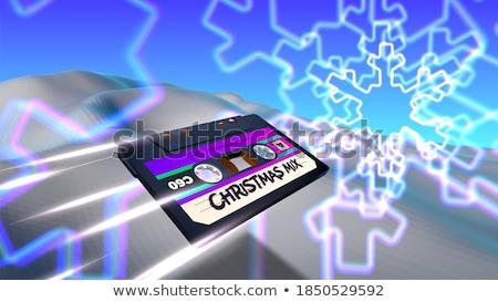 christmas card with 80s neon snowflake stock photo © swillskill