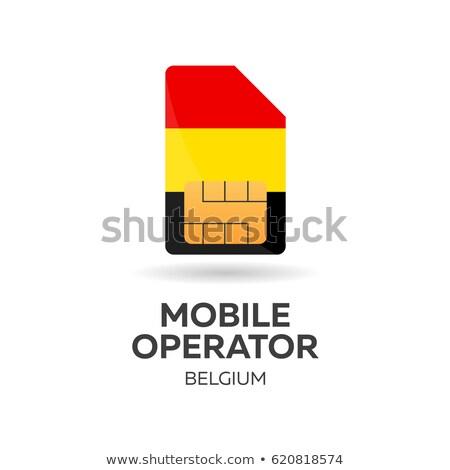 Belgium mobile operator. SIM card with flag. Vector illustration. Stock photo © Leo_Edition